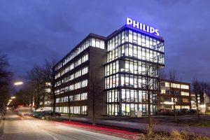 Die Produktionsstätte von Philips in der Röntgenstraße