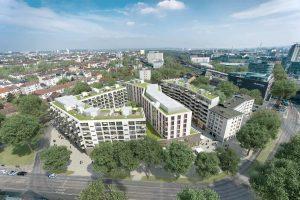 """Der dreiteilige Gebäudekomplex """"The East"""" in Frankfurt am Main. Bild: Michael Behrendt"""