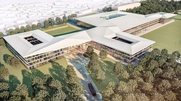 Rendering des neuen DFB-Komplexes in Frankfurt Niederrad. Bild: DFB/Kadawittfeldarchitektur