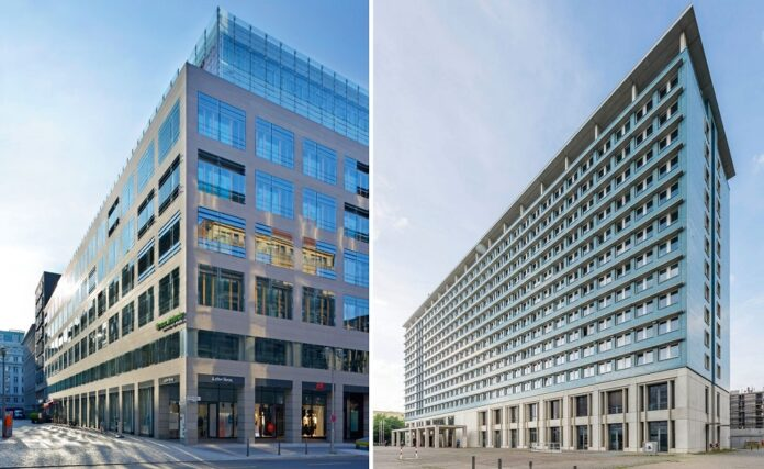 Spie betreut für die nächsten drei Jahre u. a. das Rosmarin Karree (links) und das Rathaus Mitte (rechts). Bild: Union Investment Real Estate