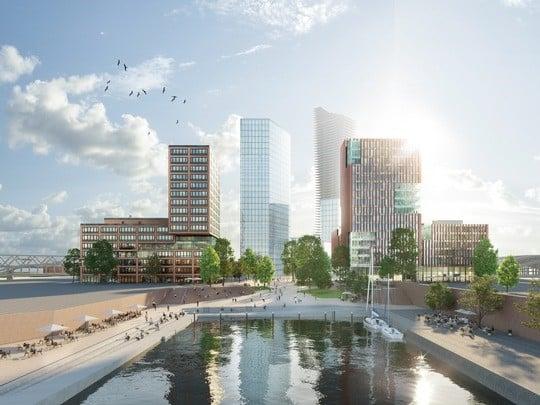 In der HafenCity Hamburg entstehen zwei smarte Gebäude. Bild: EDGE/ bloomimages